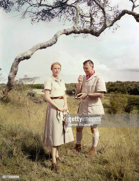 American actors Grace Kelly and Clark Gable on the set of Mogambo directed by John Ford