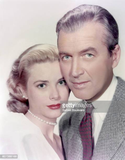 American actors Grace Kelly and James Stewart on the set of Rear Window