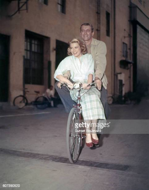 American actors Grace Kelly and James Stewart on the set of Rear Window directed and produced by British Alfred Hitchcok