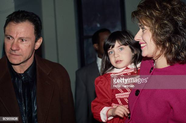 American actors Harvey Keitel and Lorraine Bracco, with their daughter Stella, attend an opening at an unspecified art gallery, New York, New York,...