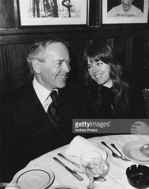 American actors Henry Fonda and his daughter Jane Fonda eating out after a preview performance of Henry Fonda's oneman play 'Clarence Darrow' by...