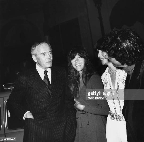 American actors Henry Fonda with his daughter Jane Fonda his fifth wife Shirlee Mae Adams and Jane's husband Tom Hayden June 1974 They are attending...