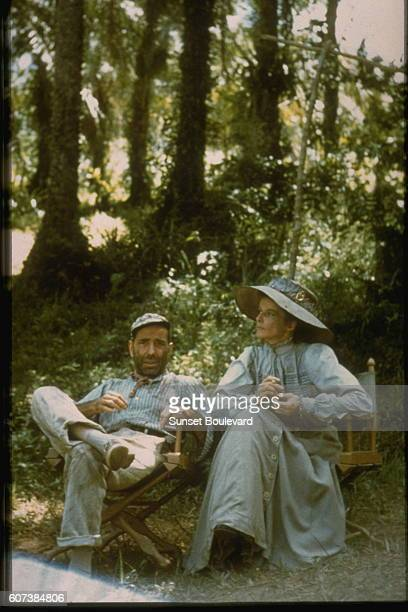 American actors Humphrey Bogart and Katharine Hepburn on the set of The African Queen directed by John Huston