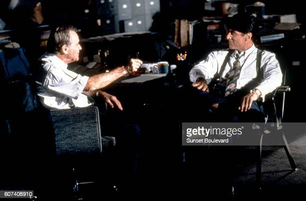 American actors Jack Lemmon and Al Pacino on the set of Glengarry Glen Ross directed by James Foley
