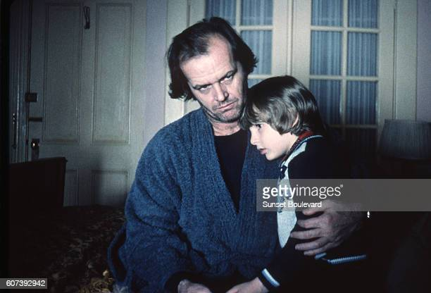 American actors Jack Nicholson and Danny Lloyd on the set of The Shining based on the novel by Stephen King and directed by Stanley Kubrick