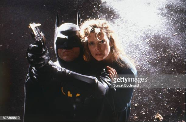 American actors Jack Nicholson and Kim Basinger on the set of Batman directed by Tim Burton