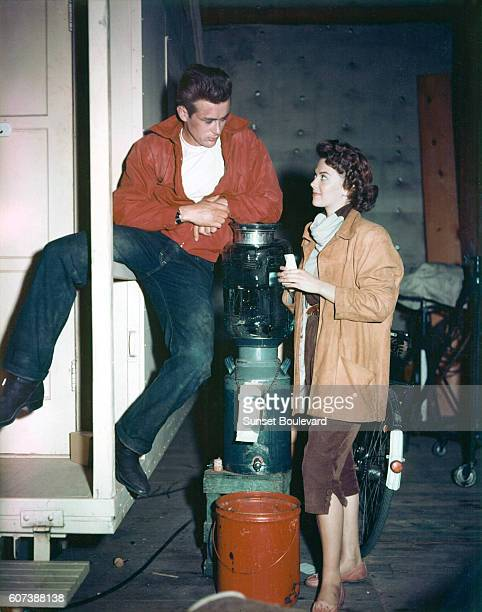 American actors James Dean and Nathalie Wood on the set of Rebel Without a Cause, directed by Nicholas Ray.