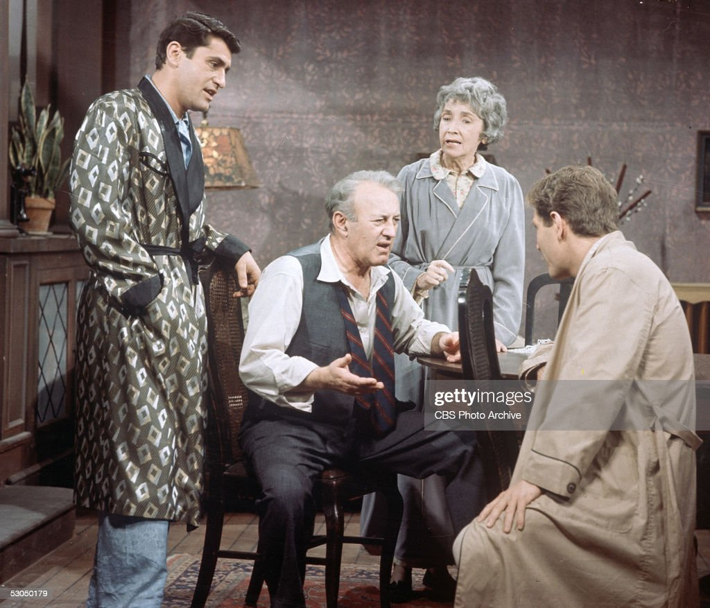 American actors (L-R) James Farentino, Lee J. Cobb (1911 - 1976), Mildred Dunnock (1901 - 1991) and George Segal appear in a scene from the staged-for-television adaptation of Arthur Miller's 'Death of a Salesman,' 1966.