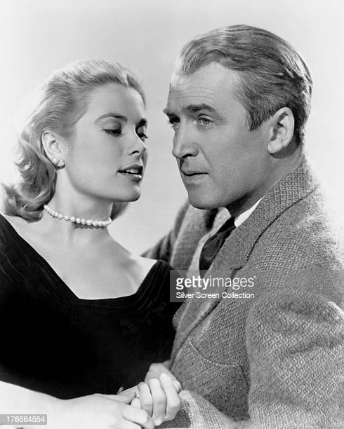 American actors James Stewart and Grace Kelly in a promotional portrait for 'Rear Window' directed by Alfred Hitchcock 1954
