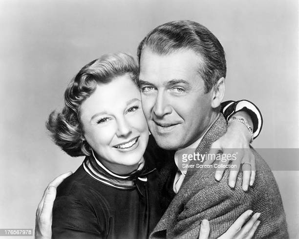 American actors James Stewart and June Allyson in a promotional portrait for 'The Glenn Miller Story' directed by Anthony Mann 1954