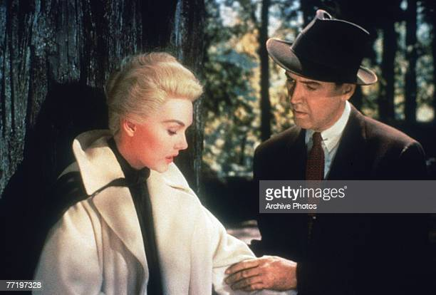 American actors James Stewart and Kim Novak in a scene from Alfred Hitchcock's 'Vertigo' a Paramount production 1958