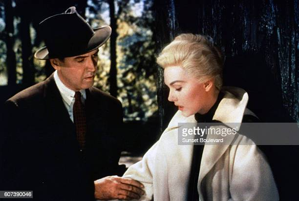 American actors James Stewart and Kim Novak on the set of Vertigo directed and produced by British Alfred Hitchcok