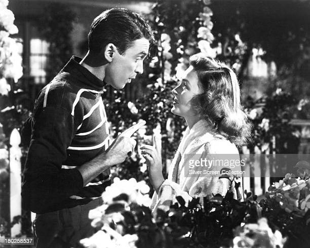 American actors James Stewart as George Bailey, and Donna Reed as Mary Hatch Bailey in a promotional still from 'It's A Wonderful Life', directed by...