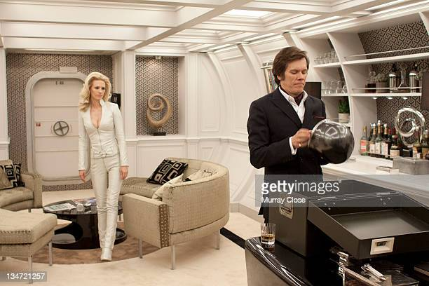 American actors January Jones as Emma Frost and Kevin Bacon as Sebastian Shaw in a scene from the film 'XMen First Class' 2011