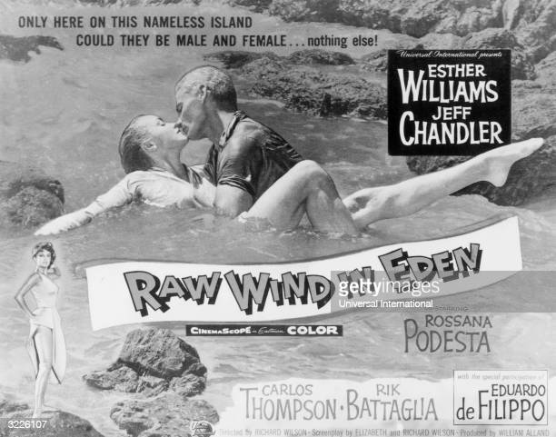 American actors Jeff Chandler and Esther Williams kiss in the water in a poster for director Richard Wilson's film, 'Raw Wind In Eden'.