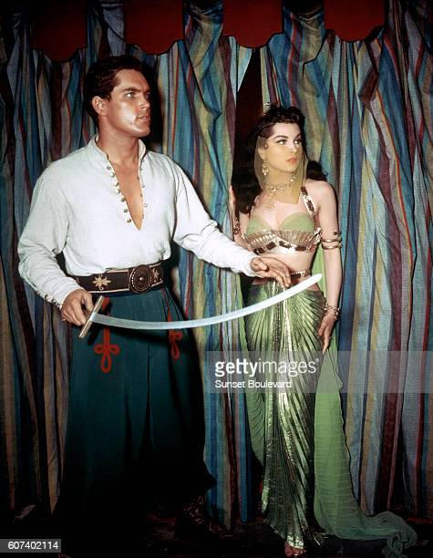 American actors Jeffrey Hunter and Debra Paget on the set of Princess of the Nile directed by Harmon Jones