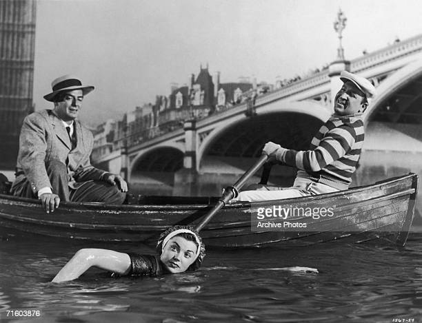American actors Jesse White Victor Mature and Esther Williams star in the MGM film 'Million Dollar Mermaid' a biopic of Australian swimmer Annette...
