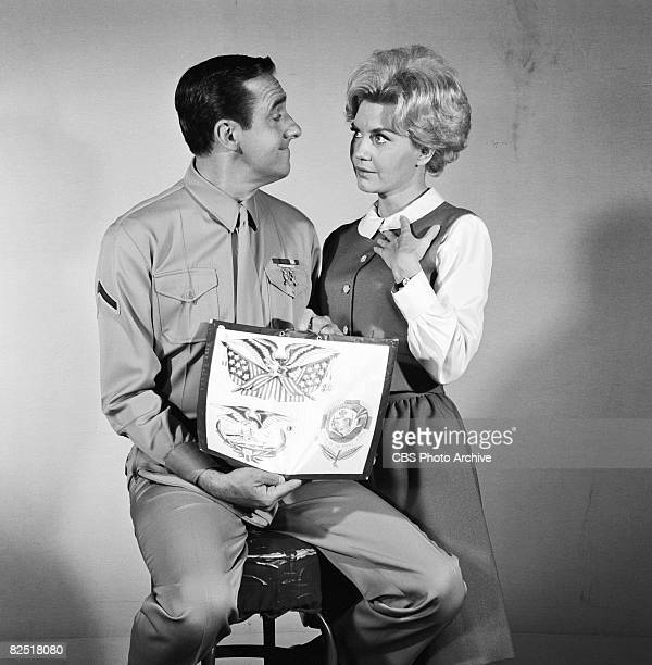 American actors Jim Nabors and Elizabeth MacRae during filming of an episode of the television comedy series 'Gomer Pyle USMC' entitled 'A Tattoo For...