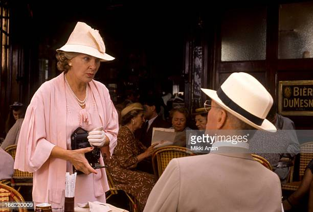 American actors Joanne Woodward and her husband Paul Newman at the cafe La Palette Paris in the title roles of the Merchant Ivory film 'Mr and Mrs...