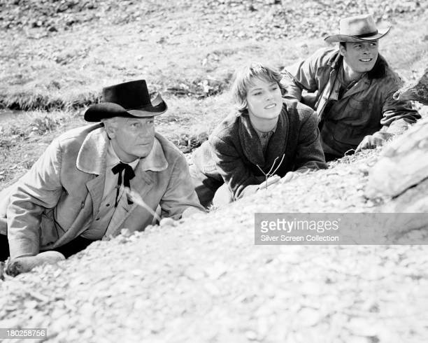 American actors Joel McCrea as Steve Judd Mariette Hartley as Elsa Knudsen and Ron Starr as Heck Longtree in 'Ride The High Country' directed by Sam...