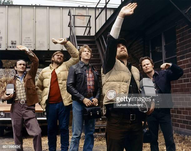 American actors John Cazale, Chuck Aspegren, Christopher Walken, Robert de Niro and John Savage on the set of The Deer Hunter, written and directed...