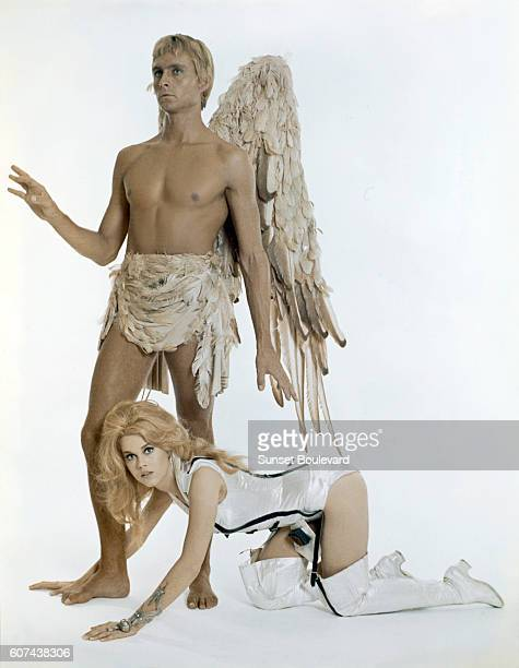 American actors John Phillip Law and Jane Fonda on the set of Barbarella based on the comic by JeanClaude Forest and directed by Roger Vadim