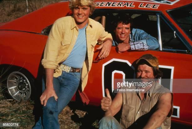 American actors John Schneider, Tom Wopat and Ben Jones as Bo Duke, Luke Duke and Cooter, respectively, in the TV series 'The Dukes of Hazzard',...