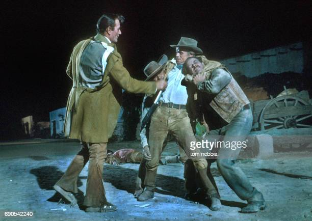 American actors John Wayne and Richard Widmark in a scene from their film 'The Alamo' Brackettville Texas 1960