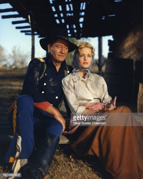 American actors John Wayne as Colonel John Marlowe and Constance Towers as Hannah Hunter in the American Civil War film 'The Horse Soldiers' 1959
