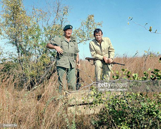 American actors John Wayne as Colonel Mike Kirby and David Janssen as George Beckworth in 'The Green Berets' directed by John Wayne Ray Kellogg and...