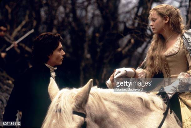 American actors Johnny Depp and Christina Ricci on the set of Sleepy Hollow based on the story by Washington Irving and directed by Tim Burton