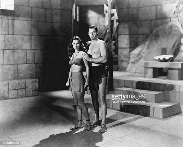 American actors Johnny Weissmuller as Tarzan and Brenda Joyce as Jane in 'Tarzan And The Mermaids' directed by Robert Florey 1948 This was...