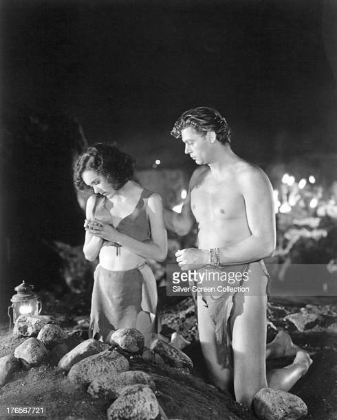 American actors Johnny Weissmuller as Tarzan and Maureen O'Sullivan as Jane Parker in 'Tarzan And His Mate' directed by Cedric Gibbons 1934