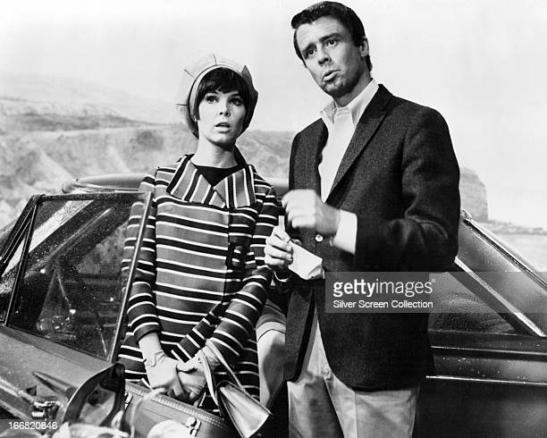 American actors Jonathan Daly and Yvonne Craig as Harvey Dillman and his fiance Gladys Zimmerman in a publicity still for the TV series 'The Ghost...
