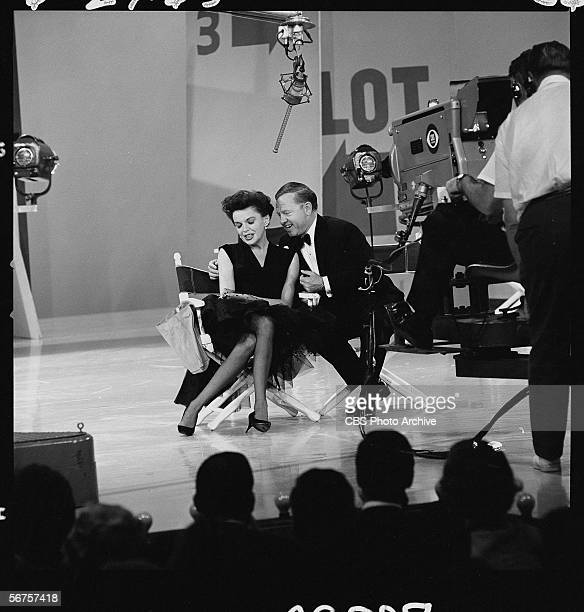 American actors Judy Garland and Mickey Rooney perform together on an episode of 'The Judy Garland Show' June 24 1963