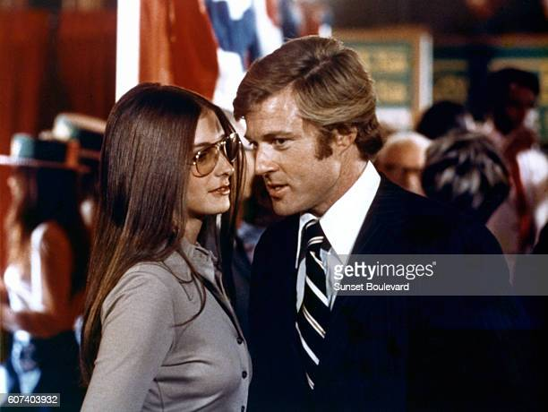 American actors Karen Carlson and Robert Redford on the set of The Candidate directed by Michael Ritchie