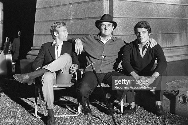 American actors Karl Malden and James Franciscus posing on the set of the film The Cat o' Nine Tails 1971