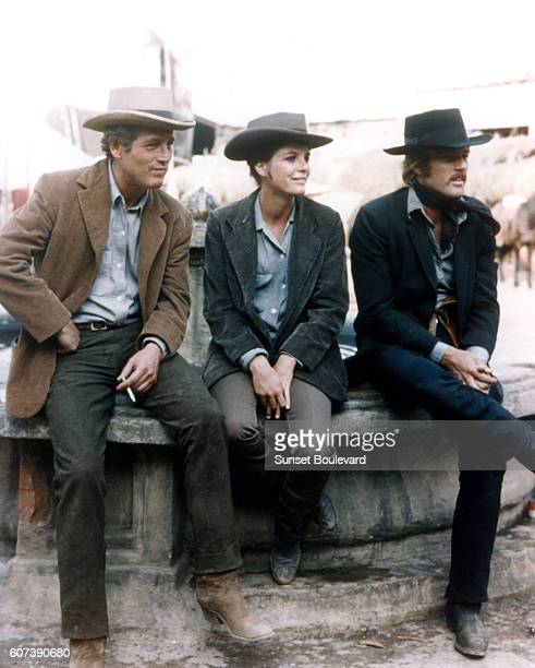 American actors Katharine Ross Robert Redford and Paul Newman on the set of Butch Cassidy and the Sundance Kid directed by George Roy Hill