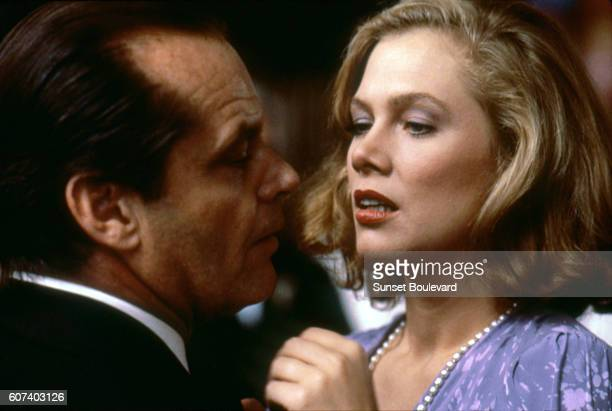 American actors Kathleen Turner and Jack Nicholson on the set of Prizzi's Honor based on the novel by Richard Condon and directed by John Huston.