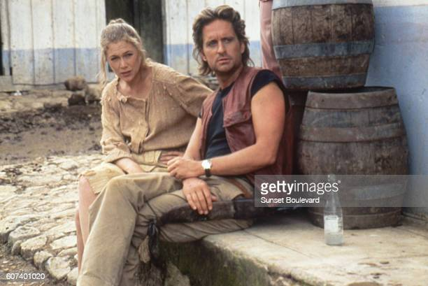 American actors Kathleen Turner and Michael Douglas on the set of Romancing the Stone directed by Robert Zemeckis.