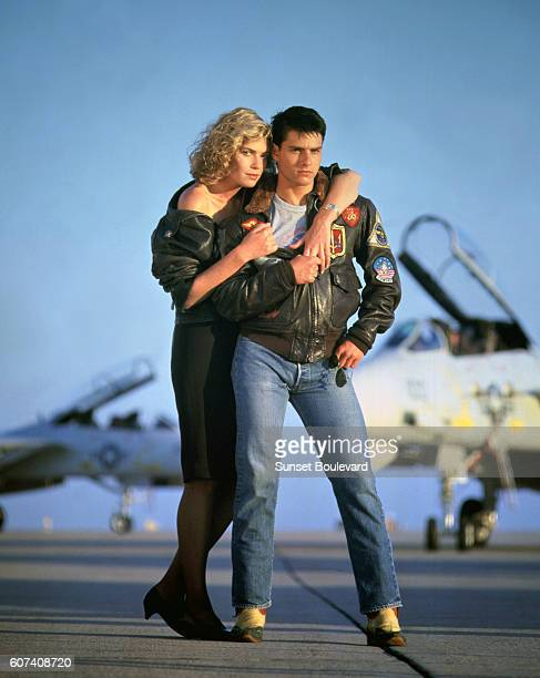American actors Kelly McGillis and Tom Cruise on the set of Top Gun directed by Tony Scott