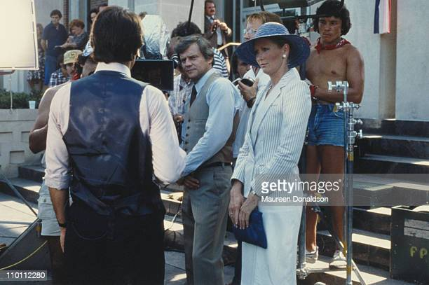 American actors Ken Kercheval and Susan Howard on the set of the television soap opera 'Dallas' circa 1980
