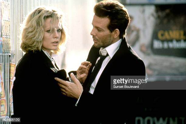 American actors Kim Basinger and Mickey Rourke on the set of Nine 1/2 Weeks directed by Adrian Lyne