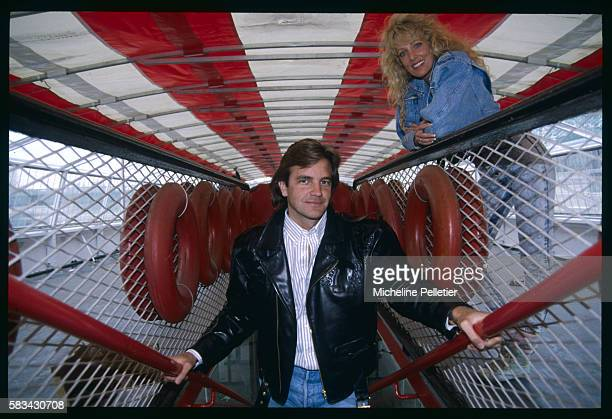 American actors Lane Davies and Kathy Shower inside a riverboat for their parts in the telefilm Santa Barbara