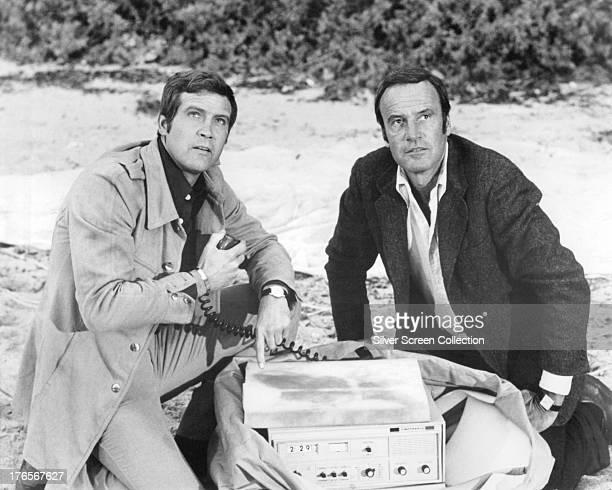 American actors Lee Majors as Steve Austin and Richard Anderson as Oscar Goldman in the TV series 'The Six Million Dollar Man' circa 1975