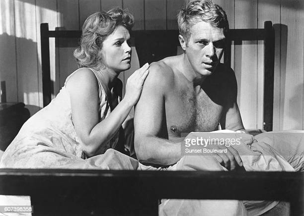 American actors Lee Remick and Steve McQueen on the set of Baby the Rain Must Fall directed by Robert Mulligan