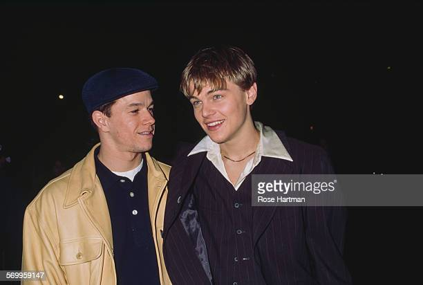 American actors Mark Wahlberg and Leonardo DiCaprio attend the premiere for the film 'The Basketball Diaries' USA 1995