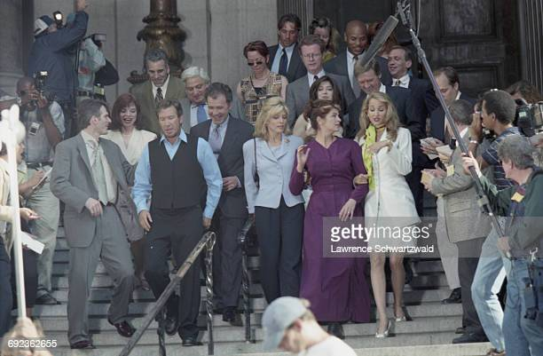 American actors Marla Maples Kirstie Alley and Tim Allen on the set of Bryan Spicer's comedy film 'For Richer Or Poorer' New York City USA 6th July...