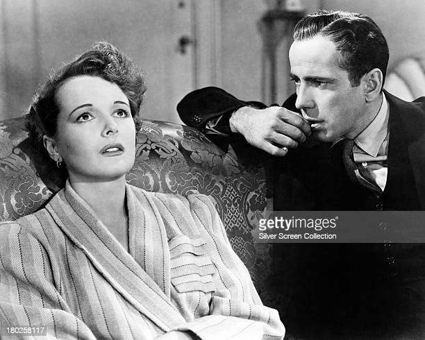 American actors Mary Astor as Brigid O'Shaughnessy and Humphrey Bogart as Sam Spade in 'The Maltese Falcon' directed by John Huston 1941