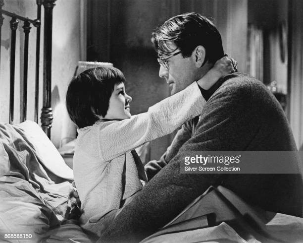 American actors Mary Badham and Gregory Peck in a scene from 'To Kill a Mockingbird' 1962